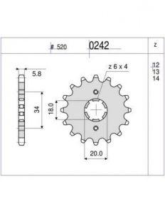PIÑON PROF. HONDA 200 XL R 10 D mod 0242