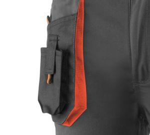 Pantalon TOP RANGE JUBA NEGRO/NARANJA Largo 65% poliester, 35% algodón.