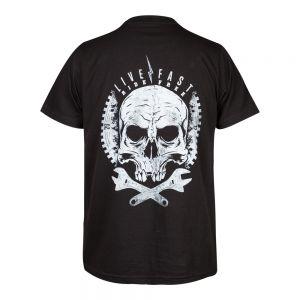 Camiseta Rock or die  Wheels Are Turning Hombre Negra