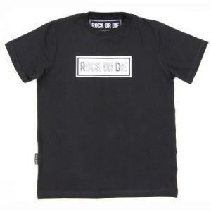 Camiseta Rock or die basica negra hombre
