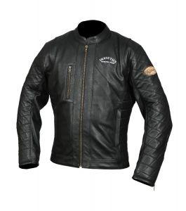 Chaqueta de moto cuero vintage Hector negra