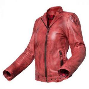 Chaqueta de moto de cuero de chica Electra Roja