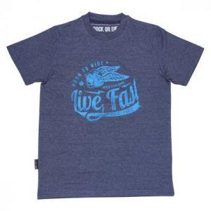 Camiseta Rock or die livefast azul hombre