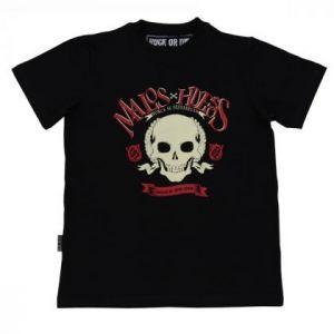 Camiseta Rock or die malos huesos negra hombre