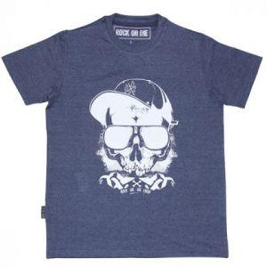 Camiseta Rock or die skull crew azul hombre