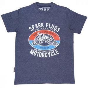 Camiseta Rock or die spark plugs azul hombre