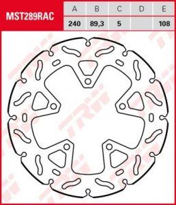 Disco de freno fijo RACING TRW  MST289RAC