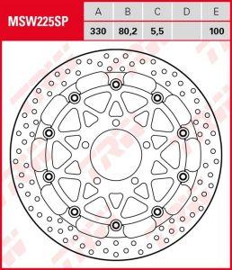 Disco de freno flotante EXCLUSIVAMENTE RACING TRW MSW225SP