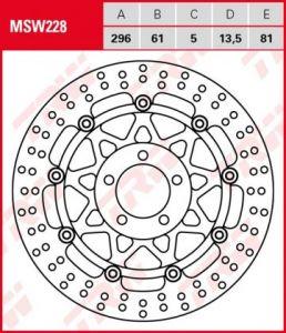 Disco de freno flotante  TRW  MSW228