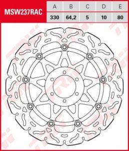 Disco de freno flotante  RACING TRW  MSW237RAC