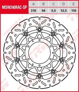Disco de freno flotante EXCLUSIVAMENTE RACING TRW MSW240RAC-SP