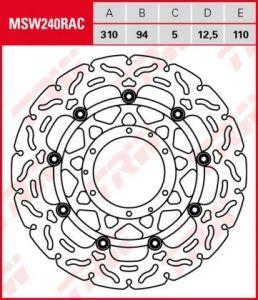 Disco de freno flotante  RACING TRW  MSW240RAC