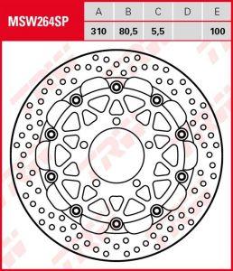 Disco de freno flotante EXCLUSIVAMENTE RACING TRW MSW264SP