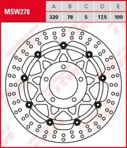 Disco de freno flotante  TRW  MSW278